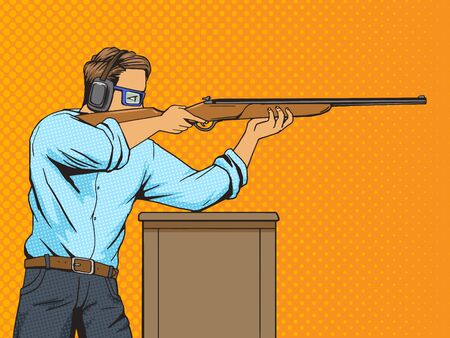 strip shirt: Man with rifle at shooting range. Cartoon pop art vector illustration. Human comic book vintage retro style.
