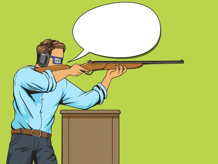 vintage rifle: Man with rifle at shooting range. Cartoon pop art vector illustration. Human comic book vintage retro style.