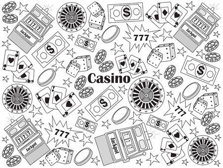 jack pot: Casino design colorless set vector illustration. Coloring book. Black and white line art