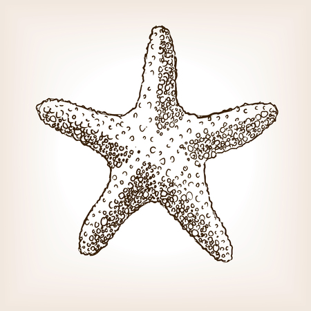 rough draft: Starfish sketch style seamless pattern vector illustration. Old engraving imitation.
