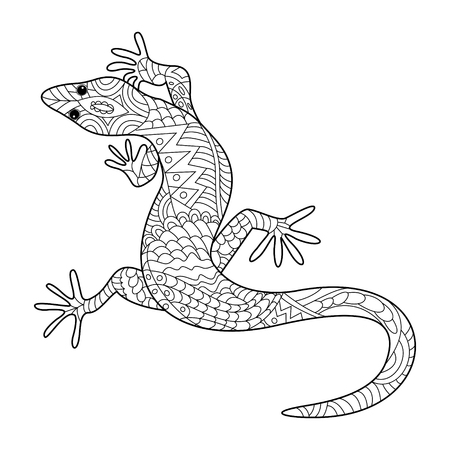 adults: Lizard coloring book for adults vector illustration.