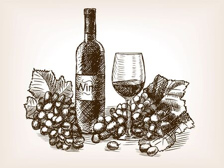 scratchboard: Wine still life sketch style vector illustration. Old engraving imitation.