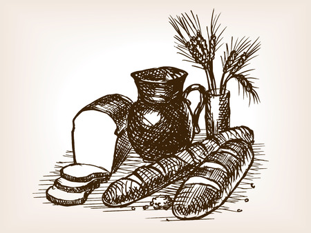 scratchboard: Bakery still life sketch style vector illustration. Old engraving imitation.
