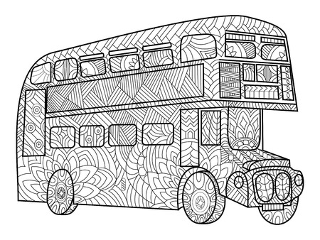 Double decker bus coloring book for adults vector illustration.