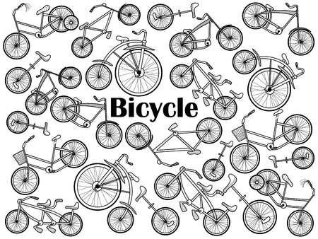 colorless: Cycle design colorless set vector illustration. Coloring book. Black and white line art