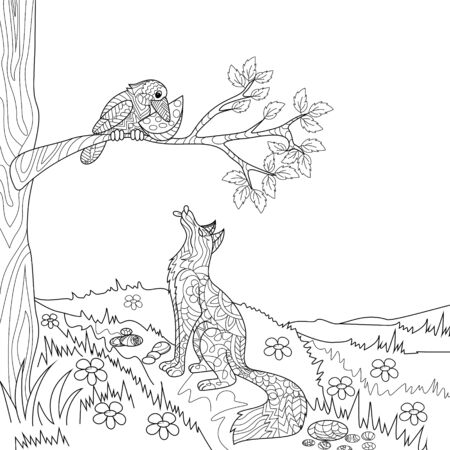 fairy: Fox and crow fairy tale coloring book vector illustration. Illustration