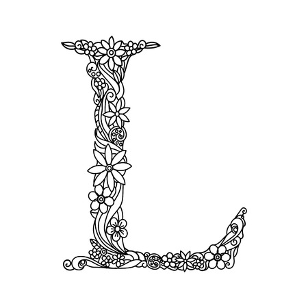Floral alphabet letter coloring book for adults vector illustration.