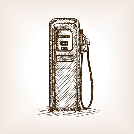 scratchboard: Gas station sketch style vector illustration. Old engraving imitation.