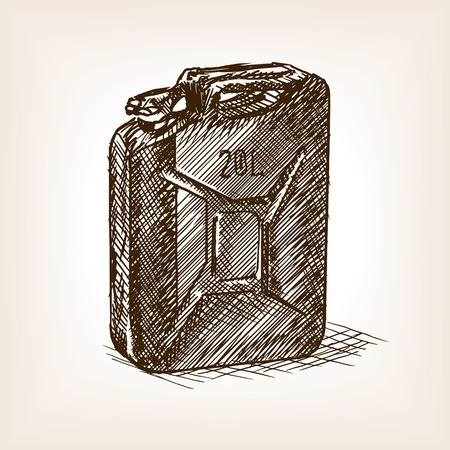 scratchboard: Jerrycan sketch style vector illustration. Old engraving imitation.