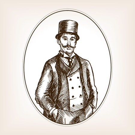 scratchboard: Vintage gentleman sketch style vector illustration. Old engraving imitation. Illustration