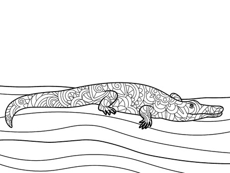 adults: Crocodile coloring book for adults vector illustration. Illustration