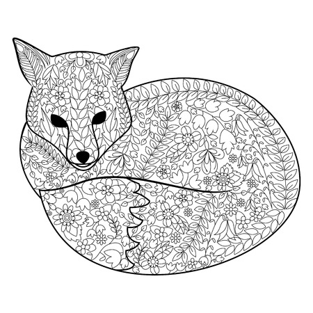 adults: Fox coloring book for adults vector illustration.