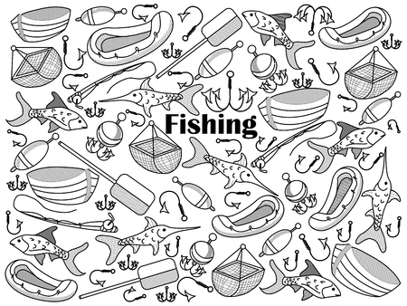 Fishing design colorless set vector illustration. Coloring book. Black and white line art Illustration
