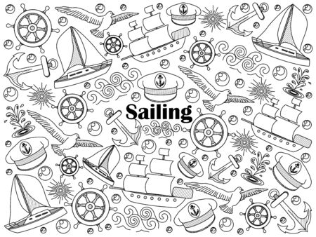 colorless: Sailing design colorless set vector illustration. Coloring book. Black and white line art