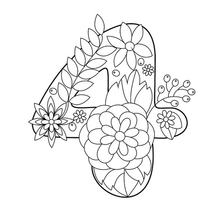 Floral Font Numbers Coloring Book For Adults Vector Illustration ...