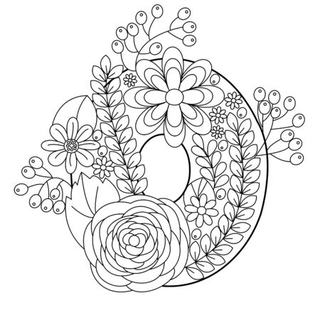 floral alphabet: Floral alphabet number coloring book for adults vector illustration.