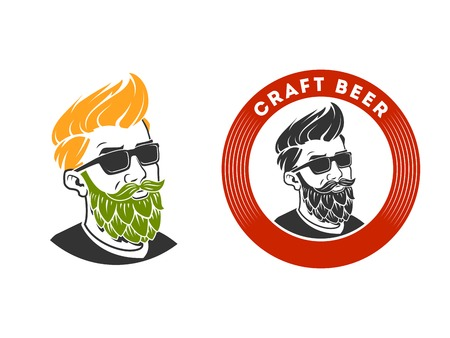 Man with beard in the form of hop vector illustration. Craft beer