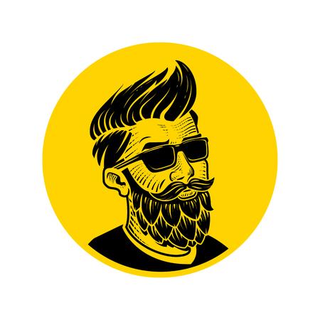 ホップのベクトル図の形でひげを持つ男。クラフト ビール