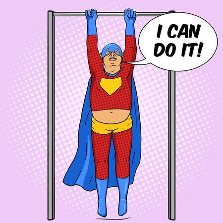 horizontal bar: Fat superhero on horizontal bar. Cartoon pop art vector illustration. Human comic book vintage retro style.