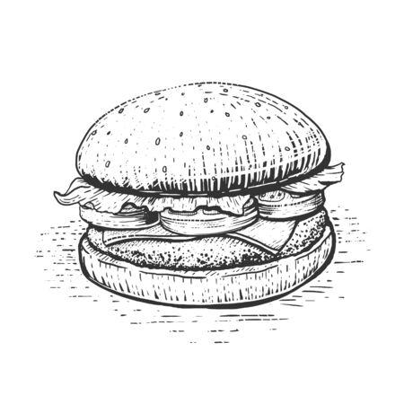Burger engraving style hand drawn vector illustration