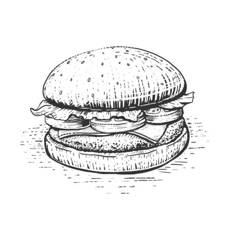 Burger engraving style hand drawn vector illustration