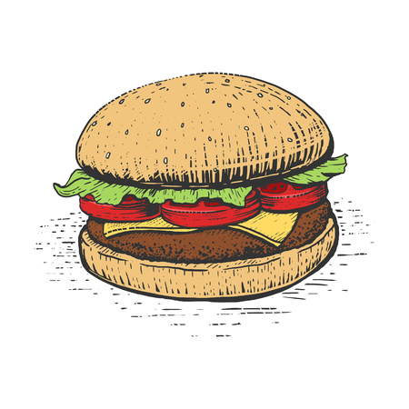 high calorie foods: Burger engraving style hand drawn vector illustration