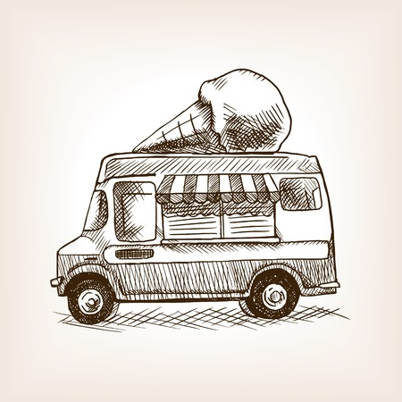 hand truck: Ice cream van skecth style hand drawn vector illustration. Old engraving imitation