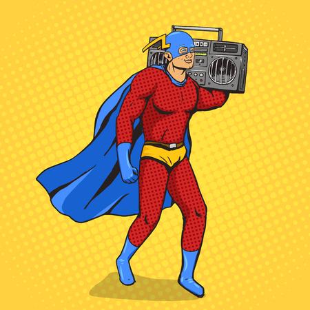 Superhéroe con radiocasete. ilustración vectorial arte pop de dibujos animados. estilo retro de cómic del ser humano.