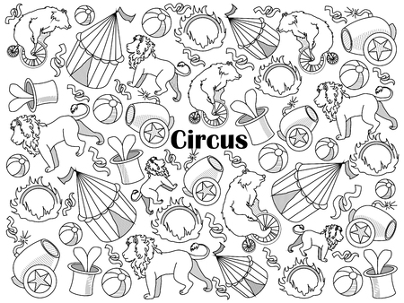 colorless: Circus design colorless set vector illustration. Coloring book. Black and white line art
