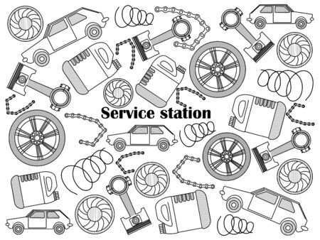 colorless: Service station design colorless set vector illustration. Coloring book. Black and white line art
