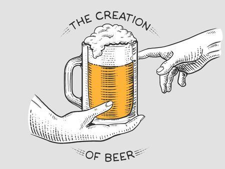 scratch board: Hands with cup of beer engraving vector illustration. Scratch board style imiation. Illustration