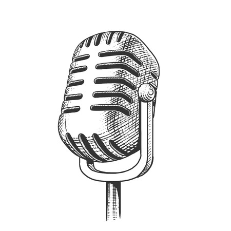 Vintage microphone hand drawn engraving style vector illustration. Scratch board imitation. Иллюстрация