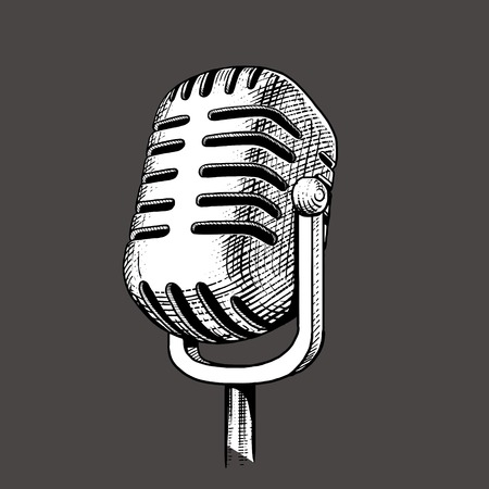 rough draft: Vintage microphone hand drawn engraving style vector illustration. Scratch board imitation. Illustration