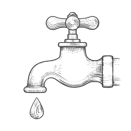 water tap: Water tap with drop engraving style vector illustration