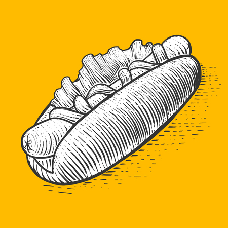 scratch board: Hot dog fast food engraving style vector illustration. Scratch board style imitation