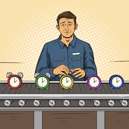 assembly line: Man working on the assembly line pop art style vector illustration. Comic book style imitation