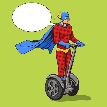 two wheel: Superhero ride on two wheel electric transport. Cartoon pop art vector illustration. Human comic book vintage retro style.