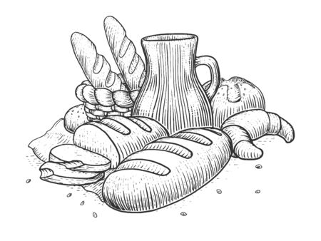 still life food: Bakery products still life engraving style vector illustration. Scratch board style imitation