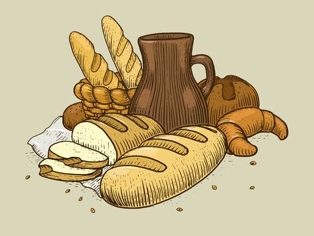 Bakery products still life engraving style vector illustration. Scratch board style imitation