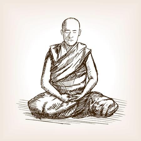 monk: Buddhist monk meditation sketch style vector illustration. Old engraving imitation.
