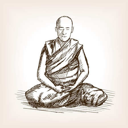 Buddhist monk meditation sketch style vector illustration. Old engraving imitation.