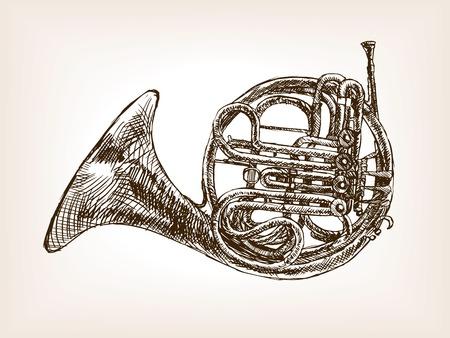 french horn: French horn sketch style vector illustration. Old engraving imitation. Illustration