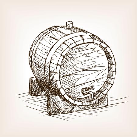 ワイン樽スケッチ スタイルのベクトル図です。古い彫刻の模倣。