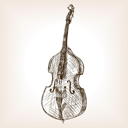 rough draft: Double bass sketch style vector illustration. Old engraving imitation. Illustration