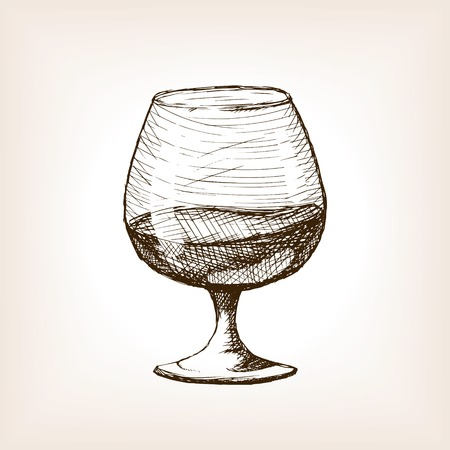 Cognac in glass sketch style vector illustration. Old hand drawn engraving imitation. Alcohol in glass