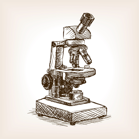 rough draft: Microscope sketch style vector illustration. Old engraving imitation. Illustration