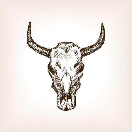 bull pen: Cow skull sketch style vector illustration. Old engraving imitation.