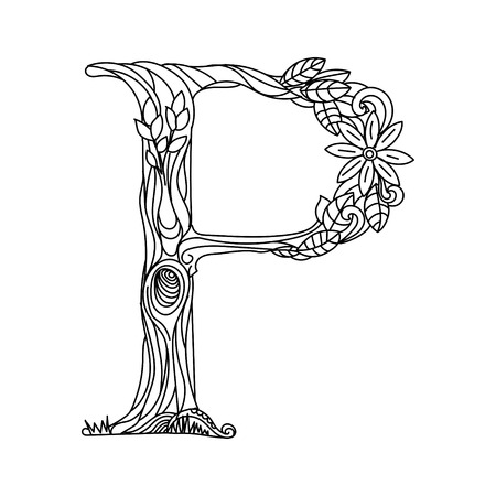 Floral alphabet letter coloring book for adults  illustration.