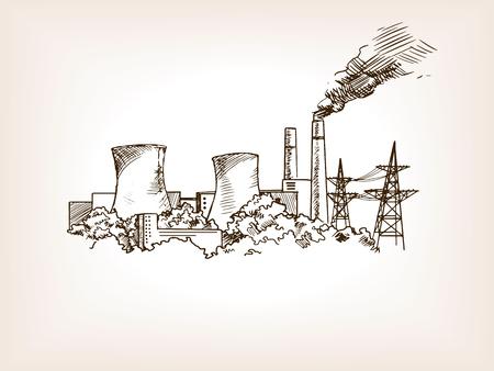 Kernkraftwerk Skizze Stil Abbildung. Alte Gravur Nachahmung.