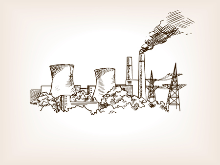 power station: Nuclear power plant sketch style illustration. Old engraving imitation. Illustration